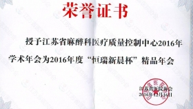 榮譽證書-2016精品年會